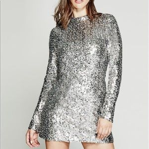 GUESS by Marciano Silver Sparkly Sequin Dress